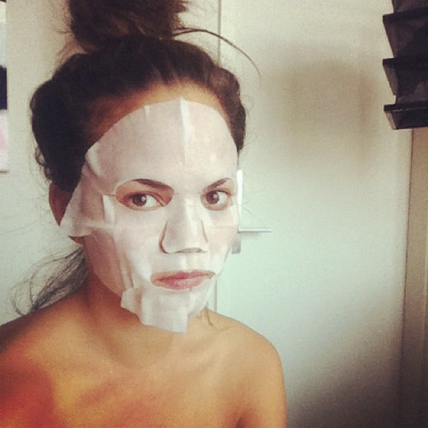 Chrissy Teigen posed for the camera in a SK-II face mask.  Source: Instagram user chrissy_teigen