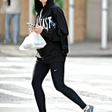 Scarlett Johansson wore a black hooded sweatshirt to hit the gym in NYC.