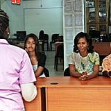 Michelle and Malia Obama visited the Martin Luther King school in Dakar with Senegal's First Lady Marieme Faye Sall in June 2013.