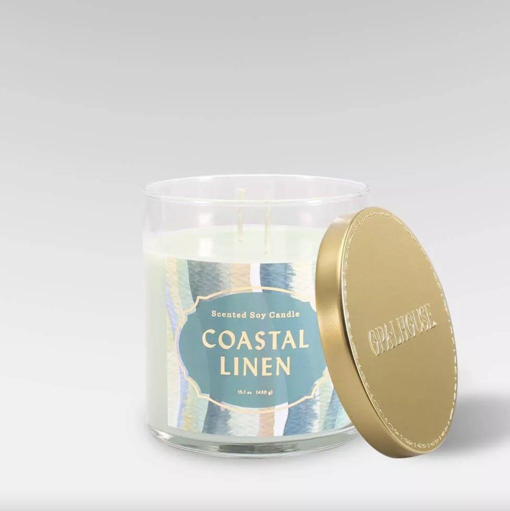 Coastal Linen Lidded Glass Jar 2-Wick  Candle