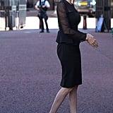 Angelina Jolie Wears Black Dress in London Sept. 2016