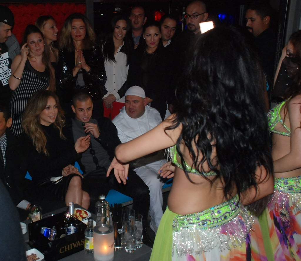 Jennifer Lopez and Casper Smart watched a belly-dancing performance.