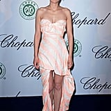 Marion Cotillard's striped strapless gown had a distinctly Summer feel at the Chopard luncheon.