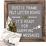 Rustic Wood Frame Gray Felt Letter Board