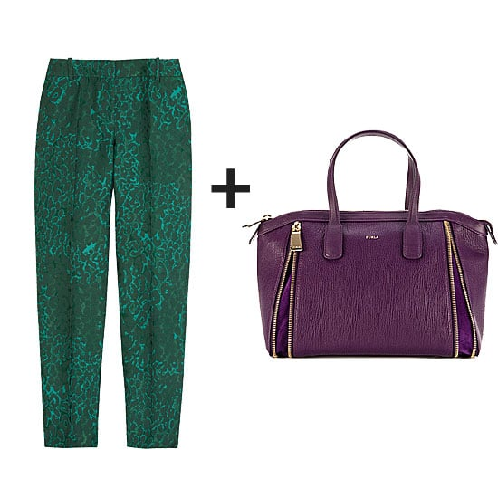 Take your color play to the next level with textural intrigue, too. These jacquard trousers lend both gorgeous emerald color and a touch of the Fall trends, while a plum-hued satchel saturates the look with a rich color complement.  Get the look:  J.Crew Café animal-jacquard Capri pants  ($198) FURLA Amazzone Leather Satchel ($598)