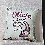 Personalized Unicorn Reversible Sequin Pillow
