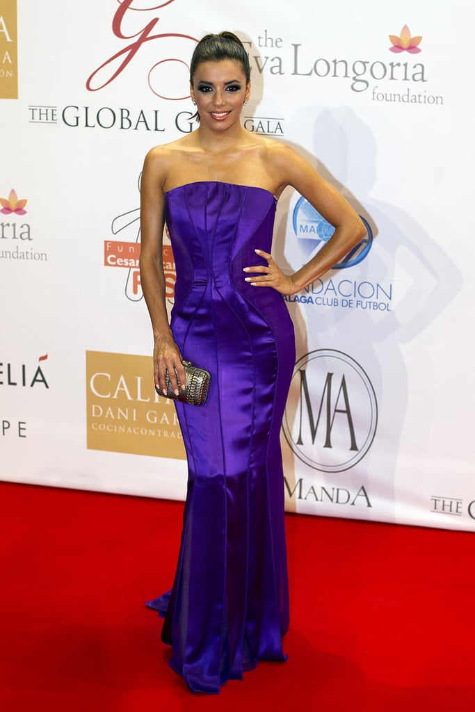 For the 2012 Global Gift Gala, Eva balanced the regal hue of her Alberta Ferretti with a streamlined silhouette, then finished with minimal accessories and a slick ponytail.