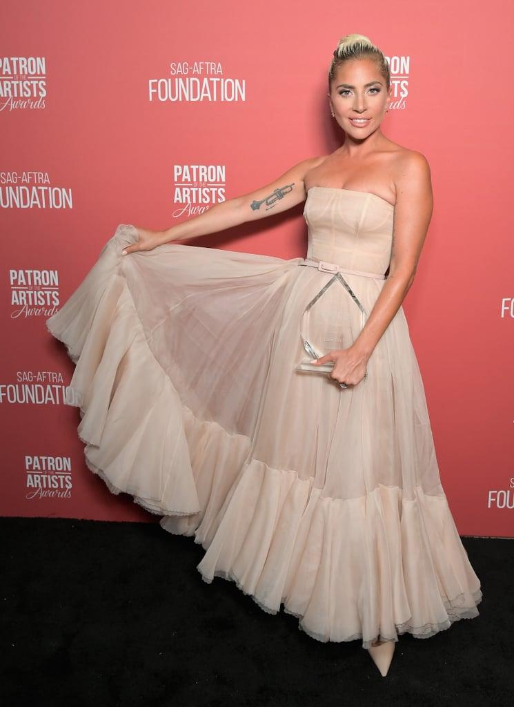 Wearing a light pink Dior dress at the SAG-AFTRA awards.