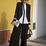 We love the billowy effect versus tailored pieces in this wide-leg ensemble.