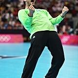 Croatia's goalkeeper Mirko Alilovic reacted during the men's handball preliminary match between Serbia and Croatia.