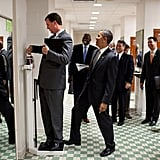 When his trip director weighed himself at the University of Texas and Obama stepped on the scale for laughs