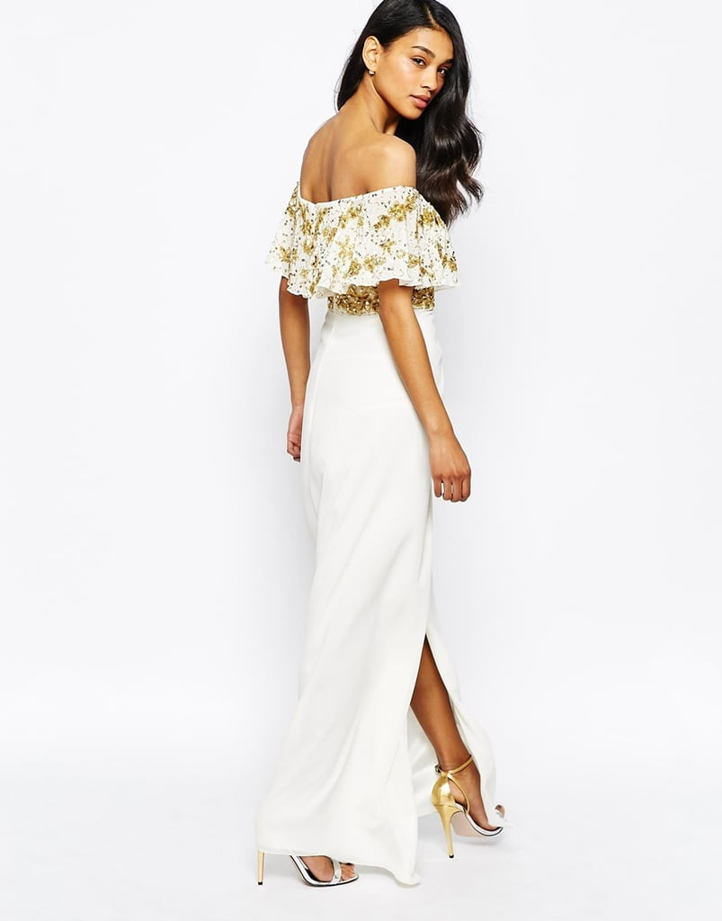 b36441ff3098 Virgos Lounge Tiffany Embellished Off Shoulder Maxi Dress With Thigh Split  (£125)