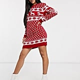 Boohoo Christmas Jumper Dress in Red Reindeer Print