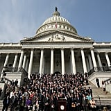 Members of Congress observed a moment of silence on the steps of the US Capitol in Washington DC.