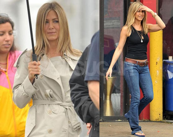 Photos of Jennifer Aniston Filming The Bounty in NYC and Avoiding the Rain