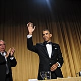 President Obama waved to the dinner guests.