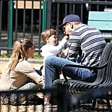 Gisele Bundchen played at a Boston park with Ben and Tom.