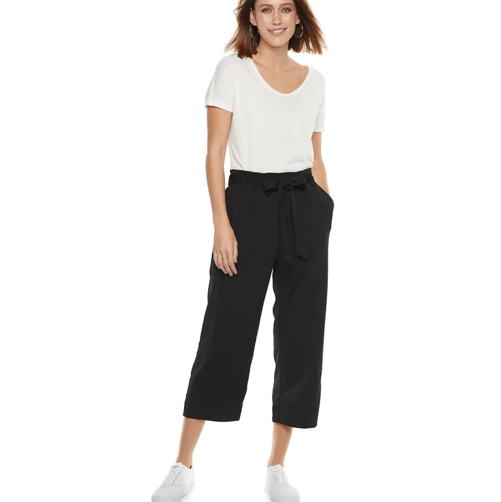 POPSUGAR Paperbag-Waist Wide Leg Crop Pants