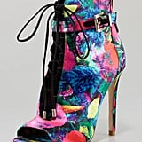 I should be shopping for cool-weather essentials, but these floral B Brian Atwood peep-toe booties ($495) would be perfect for my upcoming vacation to the British Virgin Islands. The feminine floral print mixed with the edgy lace and buckle details are everything I crave in a statement shoe. — Mandi Villa, contributing editor