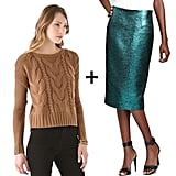 Because this pencil skirt has a sleek and shimmery look, we opted to juxtapose it with a chunky camel-colored cable-knit sweater. Finish with black opaque tights and a black fur collar for added luxe.  Get the look:   BB Dakota camel cable-knit sweater ($59, originally $84)  Tibi Lurex pencil skirt ($356, originally $445)