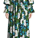Diane von Furstenberg Long-Sleeve Floral Cinch Maxi Dress