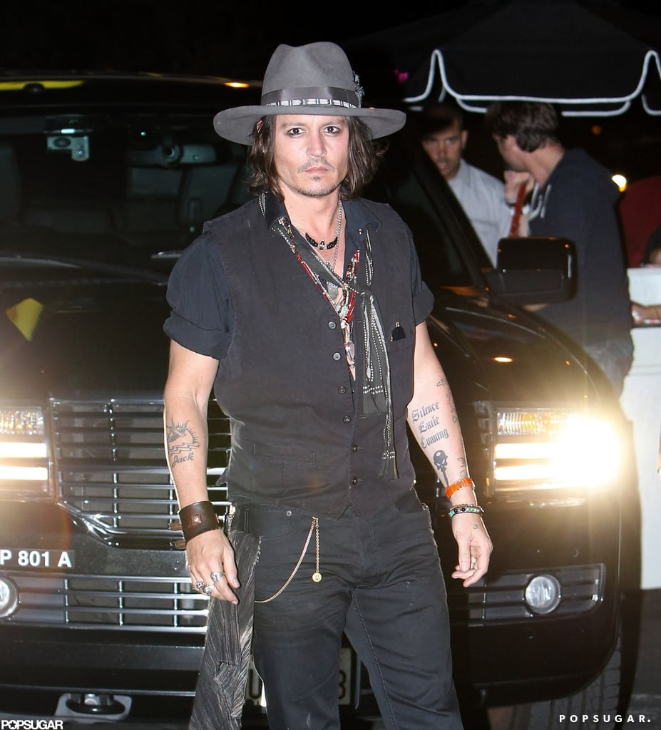 Johnny Depp arrived at Aerosmith's afterparty in LA.
