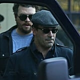 Jon Hamm hopped into the same van as Kate Hudson to catch a ride to work in Boston.