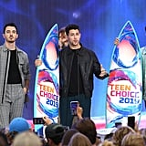 Kevin Jonas, Nick Jonas, and Joe Jonas at the Teen Choice Awards 2019