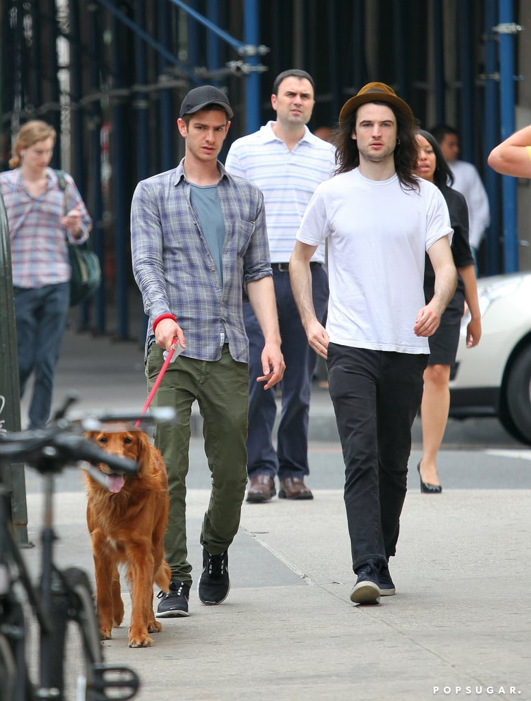Tom Sturridge and Andrew Garfield took Andrew's dog for a stroll.
