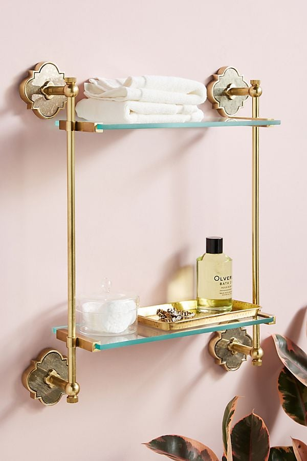 The wall-mounted Anthropologie Vera Two-Tier Shelf ($188) is as elegant as you can get when it comes to a skincare product holder.