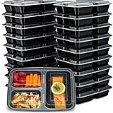 EZ Prepa 20 Pack 32oz 3 Compartment Meal Prep Containers with Lids