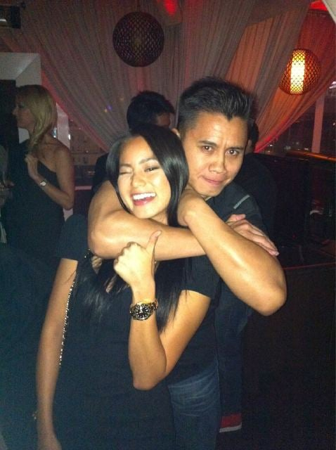 Cung Le wrapped his arms around Jamie Chung at a party.