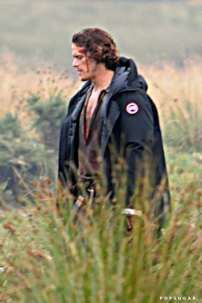 Sam Heughan Filming Outlander in Scotland