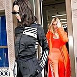 While outdoors, Kendall accessorized with micro Roberi & Fraud Frances sunglasses ($250). She arrived to the Adidas presentation alongside friend and fellow model Hailey Baldwin.