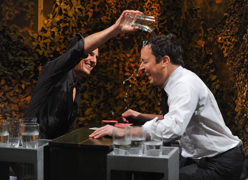 Tom Cruise poured a glass of water over Jimmy Fallon.