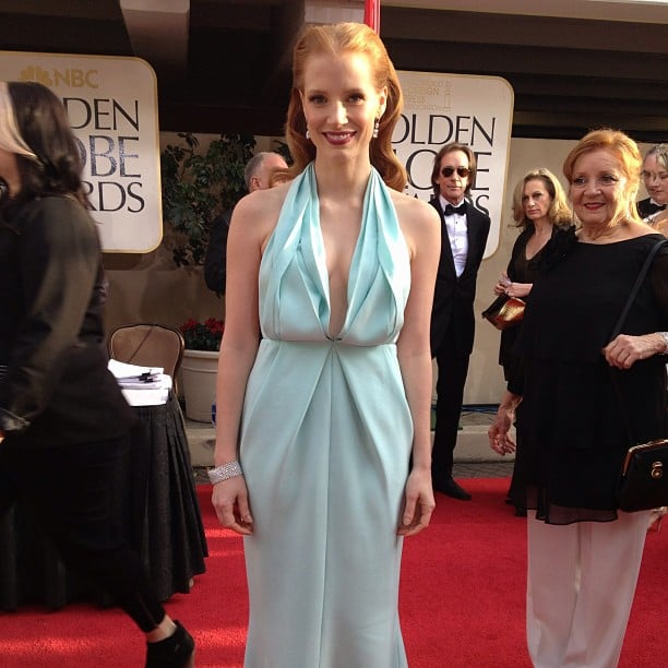 Jessica Chastain wowed in a seafoam green Calvin Klein dress at the Golden Globes. Source: Instagram user goldenglobes