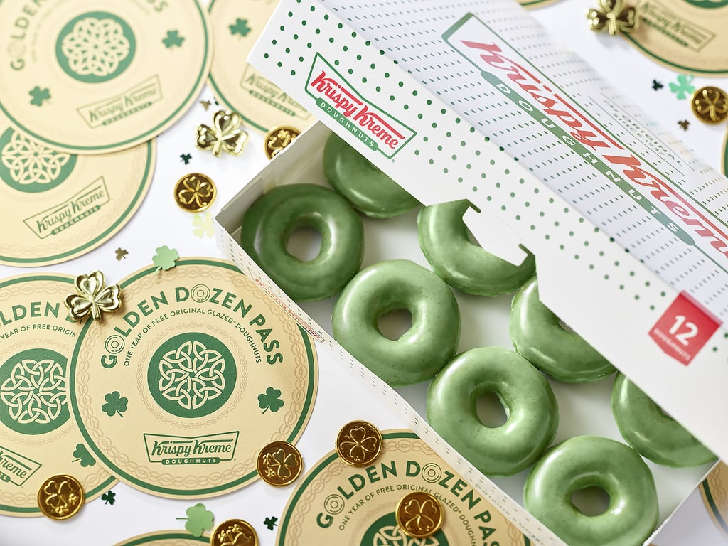 "Krispy Kreme is about to go green again. In celebration of St. Patrick's Day, the coffee and doughnut chain announced on March 7 that it's bringing back the green O'riginal Glazed Doughnut (see what it did there?) for not one but THREE whole days. From March 15 through March 17, customers can visit any participating Krispy Kreme location across the US to get their hands on the doughnut, which is basically just the chain's most popular glazed doughnut made with a ""specially formulated green dough."" The fun won't stop there. In the spirit of the lucky holiday, Krispy Kreme is giving customers at each location the opportunity to win a ""Golden Dozen Pass,"" à la Willy Wonka, which will allow winners to receive a dozen free original glazed doughnuts once a month for an entire year. And don't count yourself out if there's no Krispy Kreme near you — if you're not in close proximity to a restaurant, you can make things easier on yourself by entering the giveaway via mail. Win or lose, this one sounds like a pretty sweet deal to me.      Related:                                                                                                           8 Things You Never Knew About Krispy Kreme, Straight From an Insider Employee"