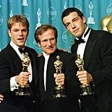 Pictured: Matt Damon, Robin Williams, and Ben Affleck