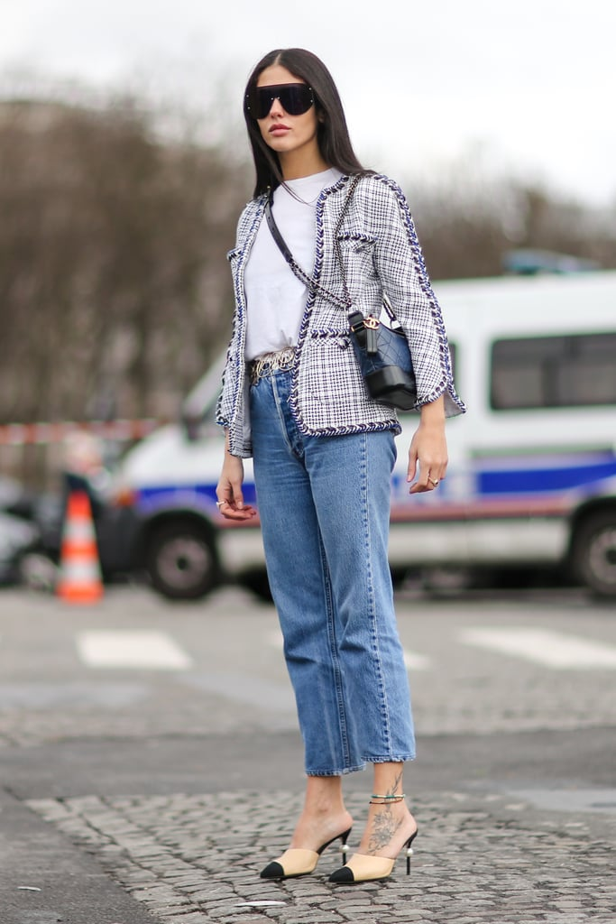 A Tweed Jacket, White Tee, and High-Waisted Jeans