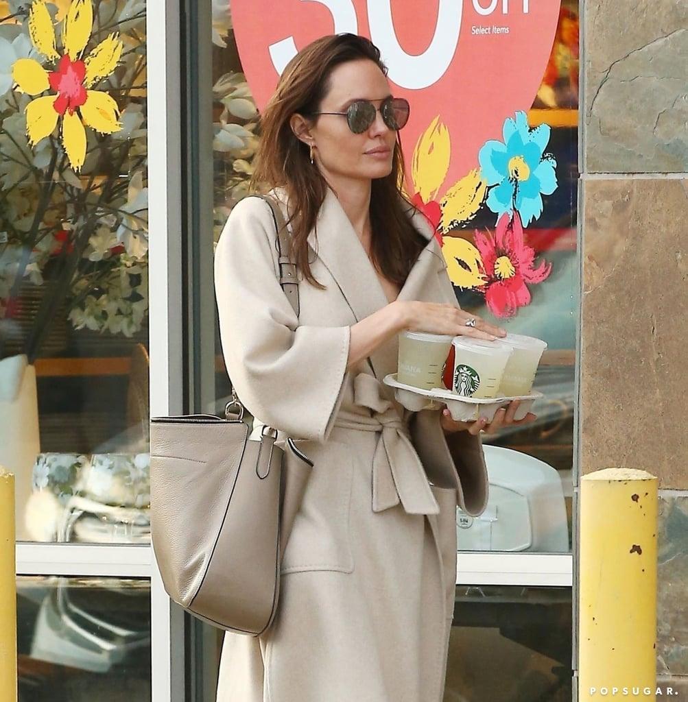 Angelina Jolie Leather Tote Bag