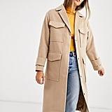 ASOS DEISGN utility twill coat in camel