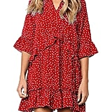 Mitilly Ruffle Polka Dot Swing Dress