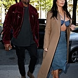 That time Kim shopped in Paris in a bikini, but Kanye covered up in his sweatshirt.