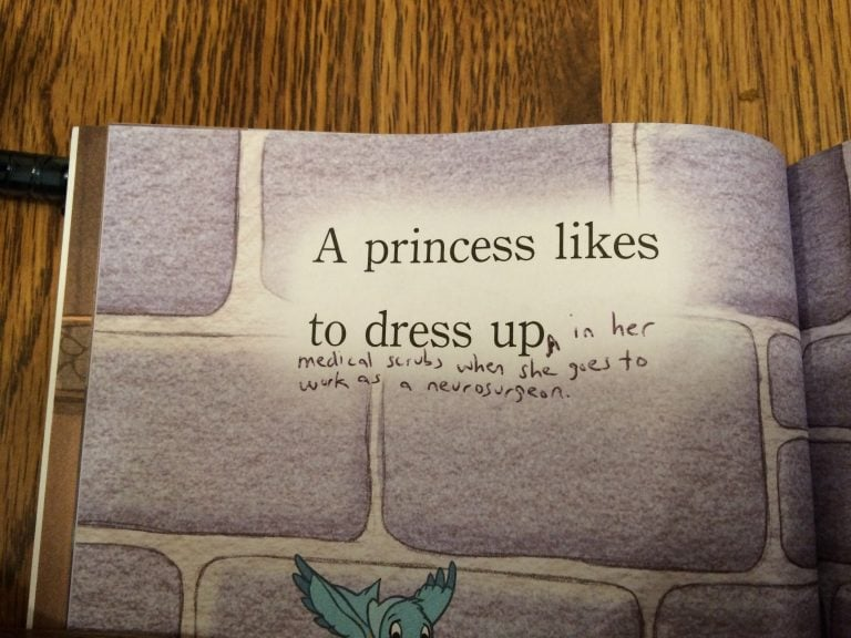 """A princess likes to dress up in her medical scrubs when she goes to work as a neurosurgeon."""