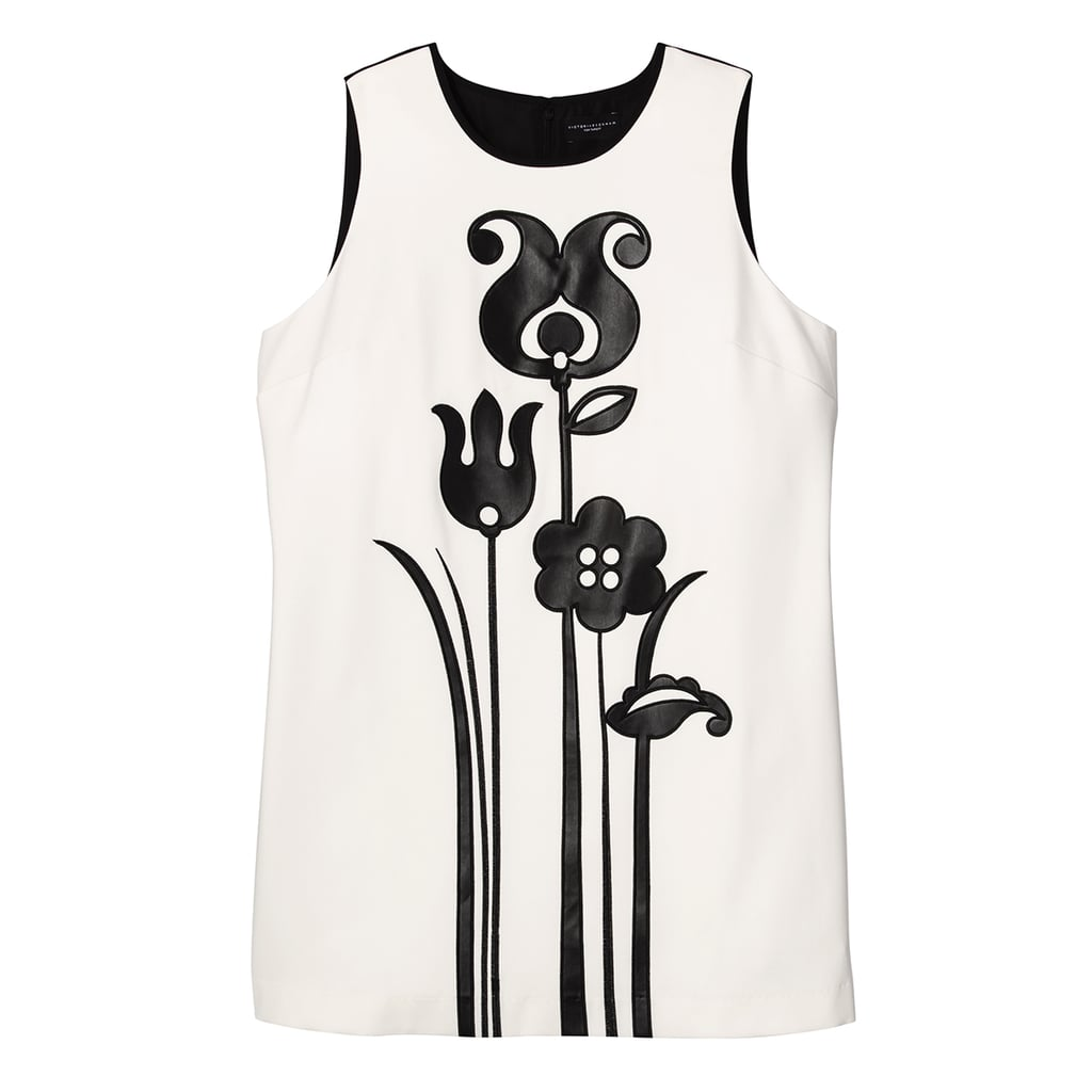 Women's Plus Black and White Mod Shift Tulip Appliqué Dress ($40)