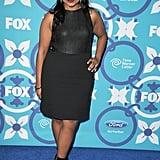 For the Fox party in Fall 2013, Mindy added oomph to an LBD with cutout ankle boots.