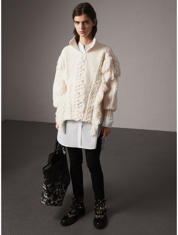 Burberry Fringed Cable Knit Cotton Blend Oversized Sweater Best