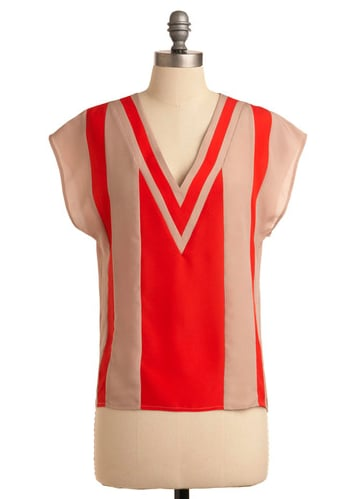 We're smitten with this red and camel color combo.  ModCloth Count on V Top ($60)