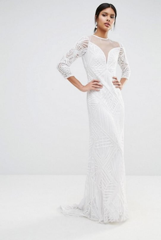 A Star Is Born Embellished Sheer Insert Long Sleeve Maxi Dress, $684