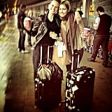 Jessica Hart met up with fellow model Anne V. at the airport on her way to Cannes. Source: Instagram user 1jessicahart